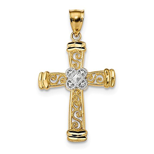 14k Yellow Gold Filigree Style Latin Cross Pendant With End Caps (14k Yellow Gold End Cap)
