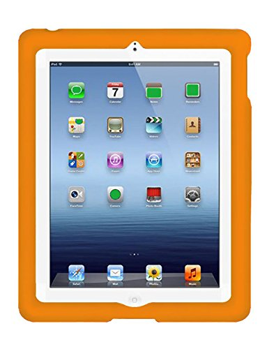 BobjGear Bobj Rugged Case for iPad 4, iPad 3, iPad 2 (not for iPad Air) Custom Fit - Patented Venting - Sound Amplification - BobjBounces Kid Friendly Outrageous Orange