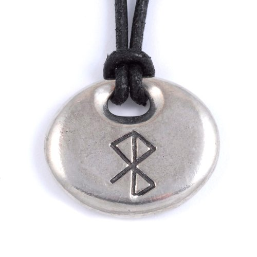 St Justin, Pewter Peace & Happiness Bind Rune Pendant
