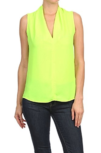 ReneeC.. Women's Solid V Neck Sleeveless Office Tank Blouse Top - Made in USA (2X-Large, Lime) ()