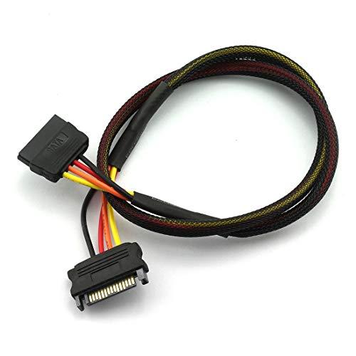DZS - Cable alargador de alimentación SATA Macho a Hembra (15 Pines, Serial ATA, Cable de alimentación para Disco Duro, con...