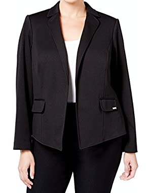 Calvin Klein Womens Plus Ponte Open-Front Jacket Black 20W
