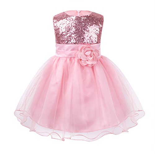 iiniim Baby Girls Sequins Formal Wedding Pageant Birthday Tutu Princess Party Flower Girl Dress Pink 9-12 Months