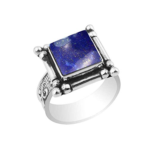 5.40ctw,Genuine Lapis 10x10mm Square & .925 Silver Plated Handmade Fashion Ring (Size-8) ()