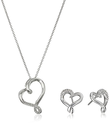 Sterling Silver Diamond Accent Heart Pendant and Earrings Jewelry (Diamond Accent Jewelry Set)