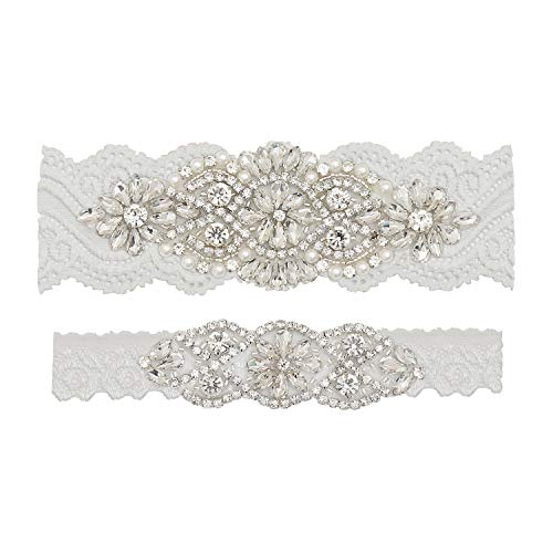 Yanstar Wedding Bridal Garter Off-White Stretch Lace Bridal Garter Sets With Silver Rhinestones Clear Crystal Pearl For Wedding]()
