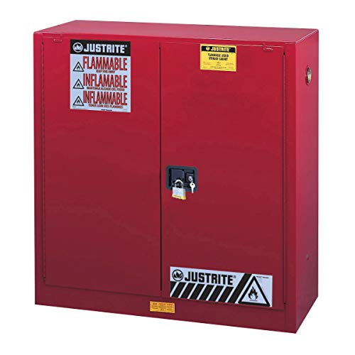 Justrite 893001 Sure-Grip Flammables Cabinet, Manual-Close, 30 Gal, Red