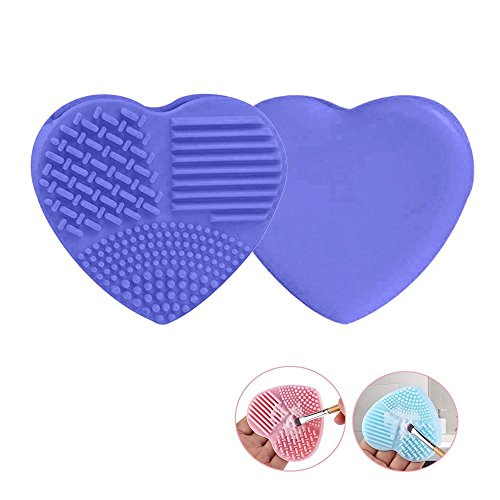 Pawaca 2PCS Makeup Brush Cleaner Pad Novelty Heart Shape Soft Silicone Rubber Makeup Brush Cleaner Mat Washing Tools for Women Cosmetic Makeup Brush Cleaning(Purple)