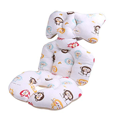 Baby Printed Stroller Pad Seat Warm Cushion Pad mattresses Pillow Cover Child Carriage Cart Thicken Pad Trolley Chair Cushion (Red)