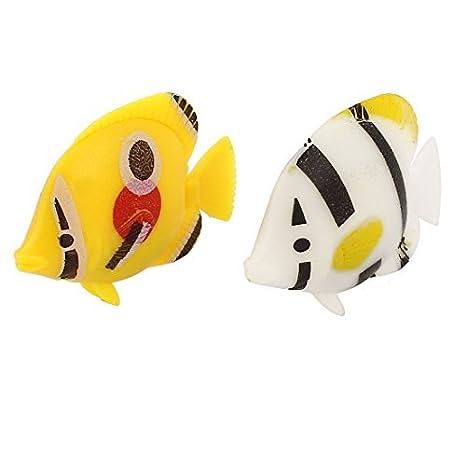 2pcs plástico giro de voladizo flotante acuario de peces decoración en blanco amarillo: Amazon.es: Productos para mascotas