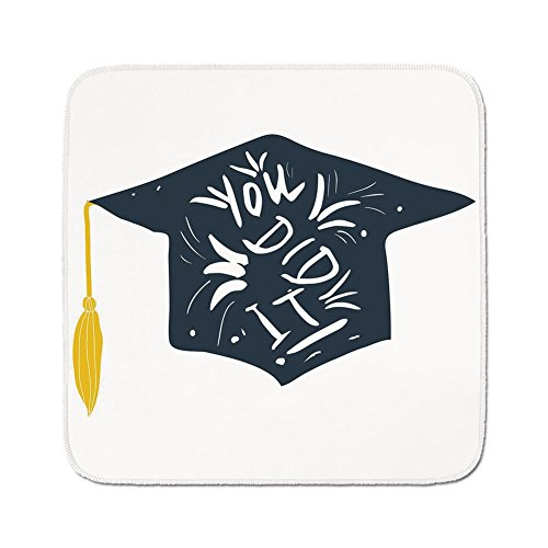 Cozy Seat Protector Pads Cushion Area Rug,Graduation Decor,You Did It Typography Floral Design Mortarboard with Tassel Decorative,Dark Blue White Yellow,Easy to Use on Any Surface ()