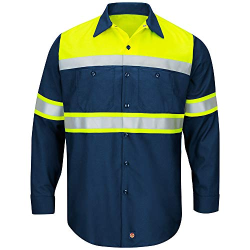 Red Kap Men's Hi-Vis LS Colorblock Ripstop Work Shirt-Type O, Class 1, Fluorescent Yellow/Navy, Large from Red Kap