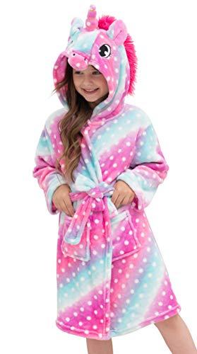 Doctor Unicorn Soft Unicorn Hooded Bathrobe Dots Sleepwear - Unicorn Gifts for Girls