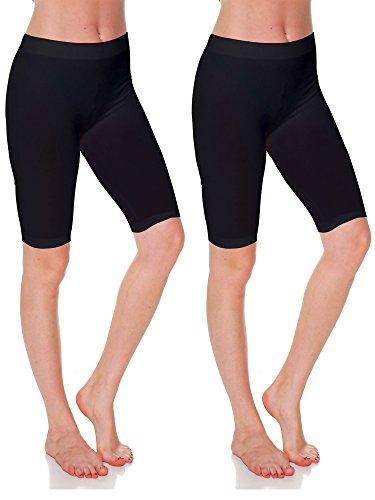Long Bermuda - Emmalise Women's Capri 17 in Knee Length Bermuda Seamless Legging - Black Black, Plus Size