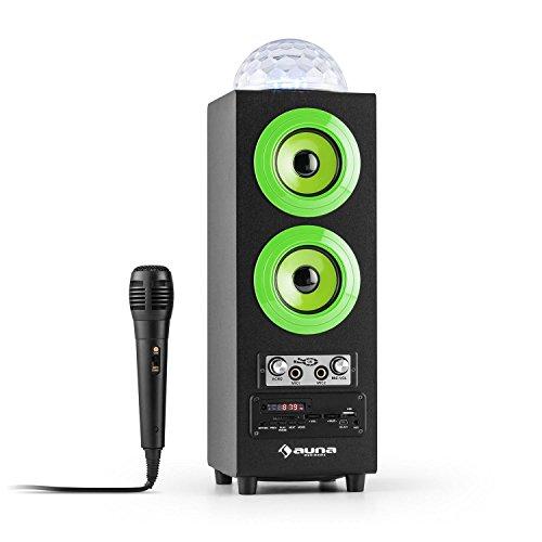 auna DiscoStar Green 2.1-Bluetooth-Lautsprecher Box tragbarer Außenlautsprecher mit Jellyball-LED-Lichteffekt (Fernbedienung, Tragegriff, Akku-Betrieb, UKW-Radio, MP3-fähige USB-SD-Slots, AUX, 2 Mic-Eingänge inkl. Mikrofon) grün-schwarz