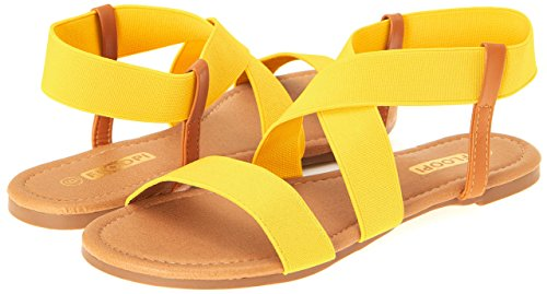 Womens Summer Flat Sandals Open Toe Elastic Ankle Strap Gladiator By Floopi (8.5, Yellow-501)