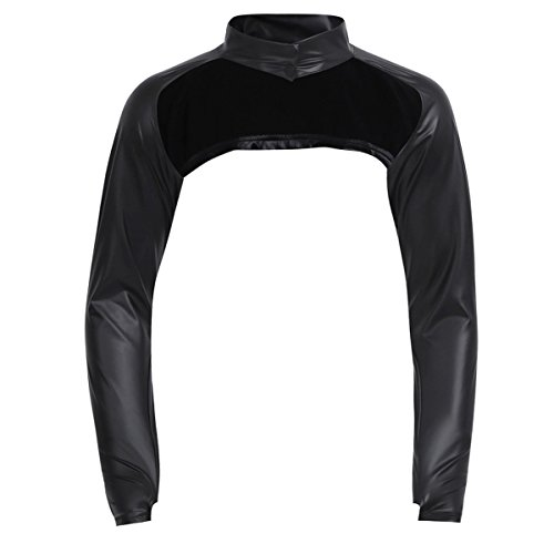 - YiZYiF Sexy Mens Shrug Half Chest Hollow Arm Sleeves T-Shirt Clubwear Costume Black Leather X-Large