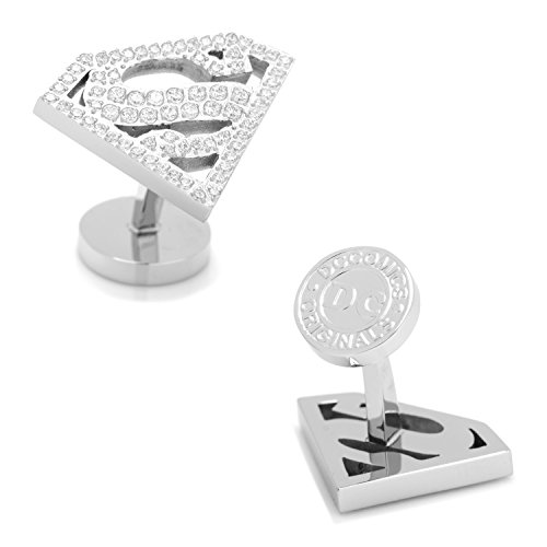 Stainless Steel White Pave Crystal Superman - Crystal Cufflinks Pave