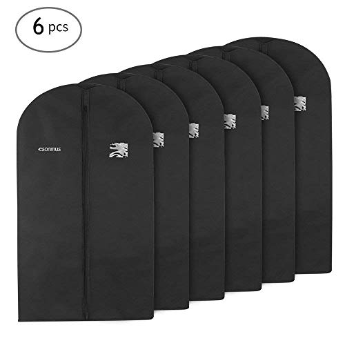 Leather Goods Garment Bag - esonmus Garment Cover Bags, 100x60cm Non-Woven Hanging Garment Clothes Bags Dustproof Moistureproof Mothproof Dress Suit Covers with PVC Window for Closet Travel, Black, Pack of 6