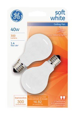 Ge Decorative Bulb White 40 W T2/6 Intermediate Pack / 2