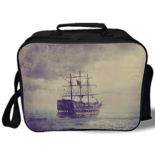 Insulated Lunch Bag,Sailboat Nautical Decor,Old Pirate Ship in the Sea Historic Legend Cruise Retro Voyage Grunge Style,Light Brown,for Work/School/Picnic, Grey