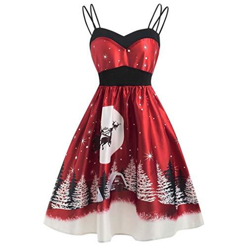 Mayunn Womens Vintage Sleeveless V Neck Christmas Warm Printed Long Dress Midi Dress Party Dress - Capsules 90 Daily