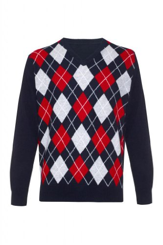 Mens pure cashmere argyle v neck Sweater, N, L Cashmere Argyle Sweater