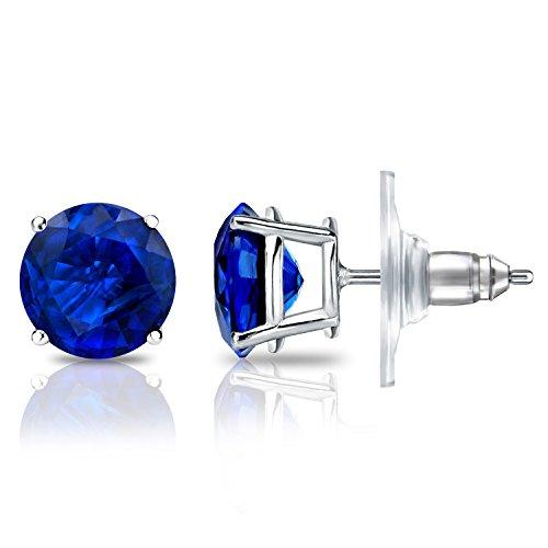Diamond Wish 14k White Gold Round Blue Sapphire Gemstone Stud Earrings (1/3 carat TW) 4-Prong Basket, Secure Lock Disc