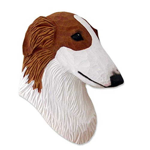 Ky & Co YesKela Borzoi Head Plaque Figurine Red