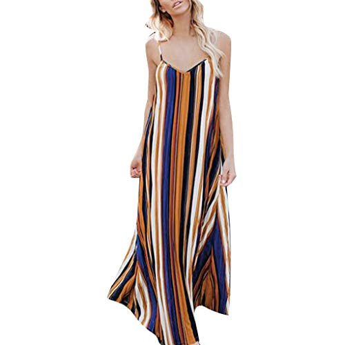 - Todaies Women's Striped Long Dress,Summer Holiday Strappy Boho Beach Maxi Sundress (S, Brown)