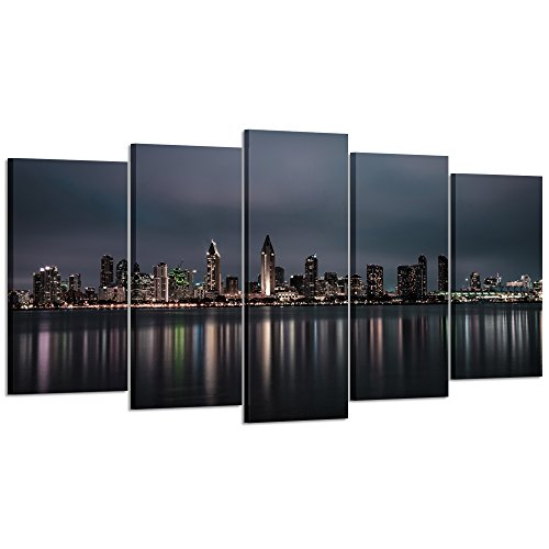 Photographic Canvas Art - Kreative Arts Large 5 Panel Canvas Prints Night Skyline of San Diego Downtown California Wall Art Long Exposure Photographic Panorama Photo Picture Art Work for Home Walls (Large Size 60x32inch)