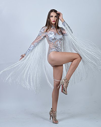 2136c007b04 Amazon.com  Charismatico White Crystallized Fringe Dance Drag Queen Leotard  with ArmTassels US0-US6  Clothing