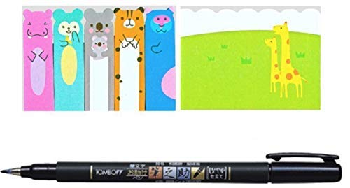 Tombow Fudenosuke Brush Pen Japanese Stationery Office School Supplies Cute Kawaii Bear Giraffe Animal Bookmarks Memo Pad Sticky Tabs Set