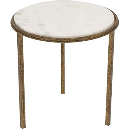 Amazoncom Classic Minimalist Hammered Gold Metal White Marble - White marble and metal round accent table