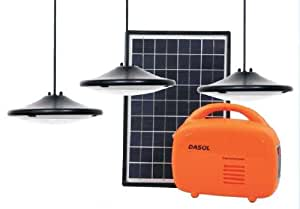 DASOL Off-grid solar lighting kit with 10W PV module, 3 hanging Super Bright LED lights and a lithium-ion battery pack that features two USB chargers and an AC adapter for quick charging