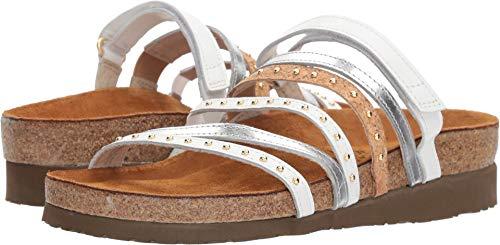NAOT Women's Prescott Slide Sandal, White Silver Mirror Cork lthr, 38 M EU (7 -