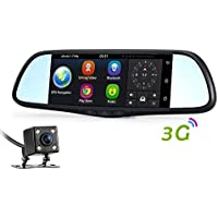 DDSKY 3G Car Rear View Mirror DVR Camera 7 Android 5.0 GPS Dual Lens Automobile Video Recorder Dash Cam Support Motion Detection/G-sensor/Loop Video/Phone APP Control