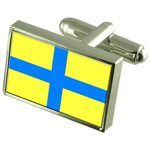 Parma City Italy Sterling Silver Flag Cufflinks Engraved Box by Select Gifts