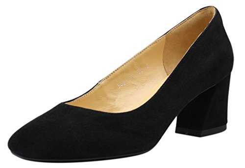 JARO VEGA Women's Low Block Heel Square Toe Suede Pumps Shoes Black Size - Las Fashion Vegas Square