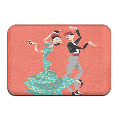 Memory Foam Bath Mat Non Slip Absorbent Super Cozy Plush Bathroom Rug Carpet,Ethnic Flamenco Dancers Couple Performing in Historical Folk Dress Latino Tradition,Decor Door Mat 23.6 X 15.7 Inches