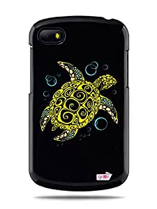 "GRÜV Premium Case - ""Giant Tortoise Sea Turtle"" Design - Best Quality Designer Print on Black Hard Cover - for Blackberry Q10"