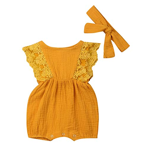(Sunhusing Adorable Newborn Baby Solid Color Sleeveless Lace Stitching Ruffled Jumpsuit Romper Dress Yellow)