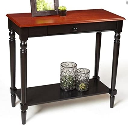 Convenience Concepts French Country Faux Marble Hall Table with Shelf