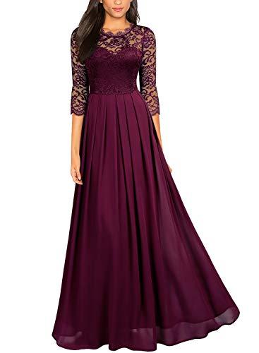 Miusol Women's Formal Floral Lace Wedding Bridesmaid Maxi Dress (Small, A-Magenta)