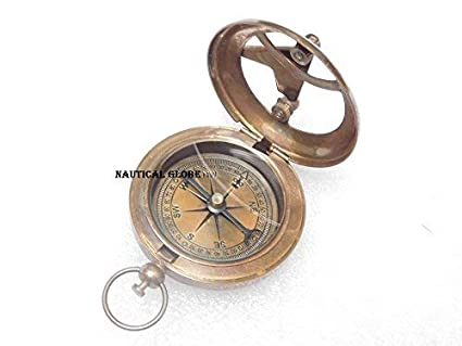 Marine Astrolabe Brass Compass Vintage Push Button Compass Handmade Pocket Gift.