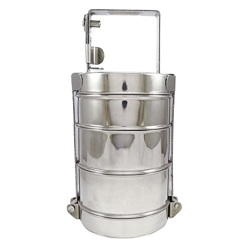 3 Tier Stainless Steel Lunch Box Food Container Indian Tiffin Round Carrier (Tiffin Set)
