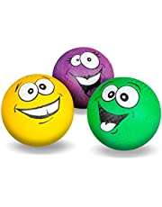 Kicko Silly Face Ball - Pack of 3 8.5 Inch Colored Playground Balls with Funny Face Design - Perfect Accessory on Parties, Events, Gatherings, Road Trips, and Playgrounds - for Kids of All Ages