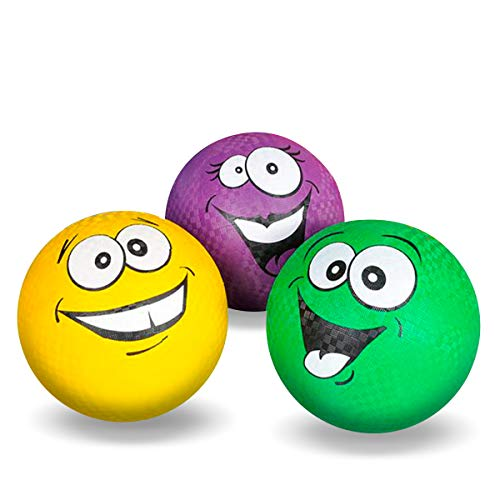 "Kicko Silly Face Ball - Pack of 3 8.5"" Colored Playground Balls with Funny Face Design - Perfect Accessory on Parties, Events, Gatherings, Road Trips, and Playgrounds - for Kids of All Ages"
