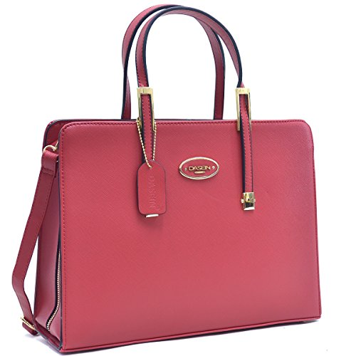 Women Leather Tote Briefcase Laptop Tablet Bag Large Work Handbag Zip Around Red - 8890 Leather