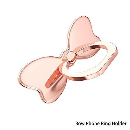 (Cell Phone Bow Ring Holder,Bowknot Phone Ring Kickstand,Universal 360 Rotation Cell Phone Finger Ring Grip Almost All Phones/Pad(Rose Gold))